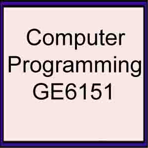 computer programming GE6151