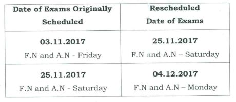 Rescheduled exams time table