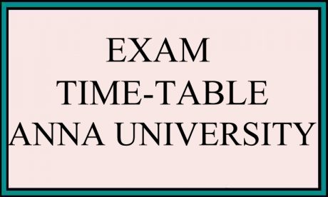 EXAM TIME TABLE ANNA UNIVERSITY